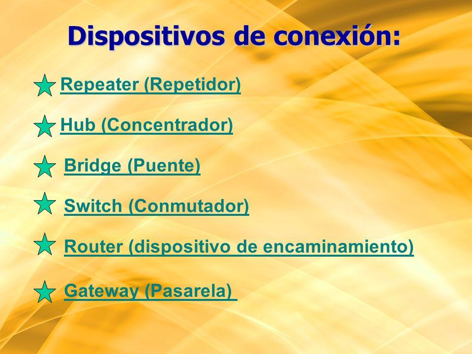 Dispositivos de conexión: Repeater (Repetidor) Switch (Conmutador) Router (dispositivo de encaminamiento) Gateway (Pasarela) Hub (Concentrador) Bridge