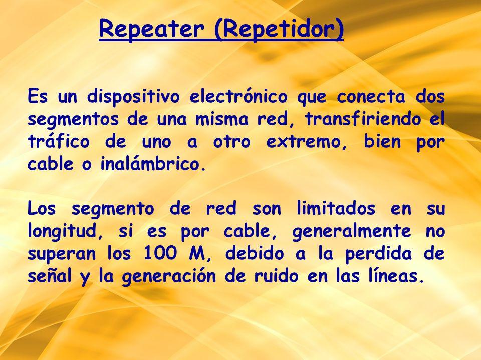 Es un dispositivo electrónico que conecta dos segmentos de una misma red, transfiriendo el tráfico de uno a otro extremo, bien por cable o inalámbrico
