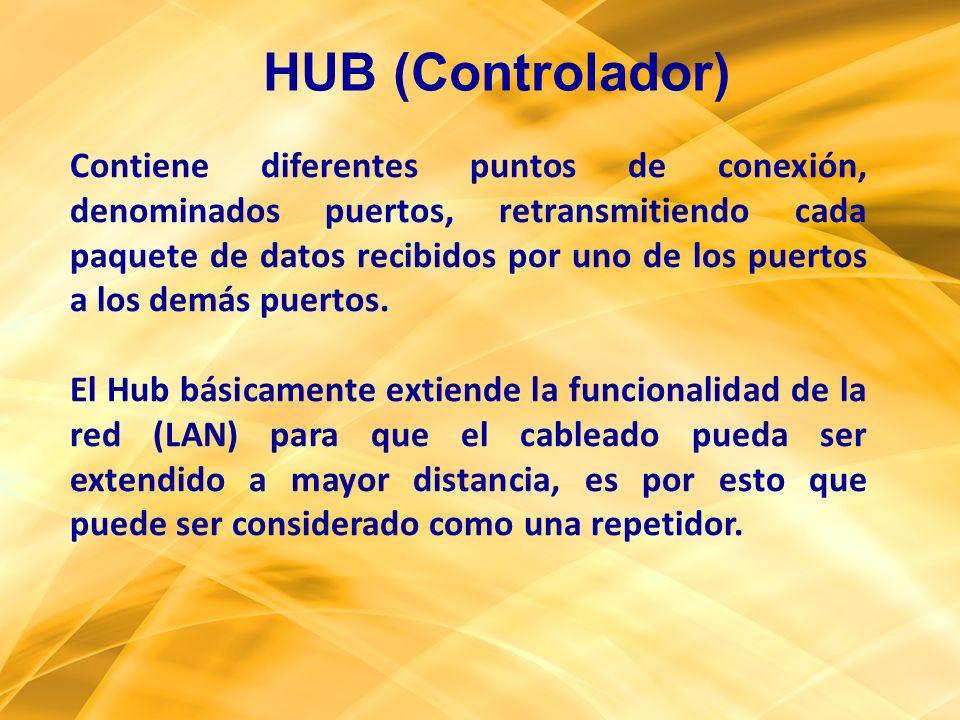 HUB (Controlador) Contiene diferentes puntos de conexión, denominados puertos, retransmitiendo cada paquete de datos recibidos por uno de los puertos