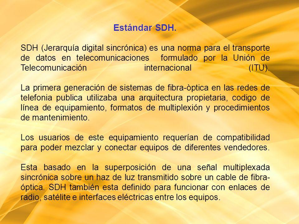 Estándar SDH. SDH (Jerarquía digital sincrónica) es una norma para el transporte de datos en telecomunicaciones formulado por la Unión de Telecomunica