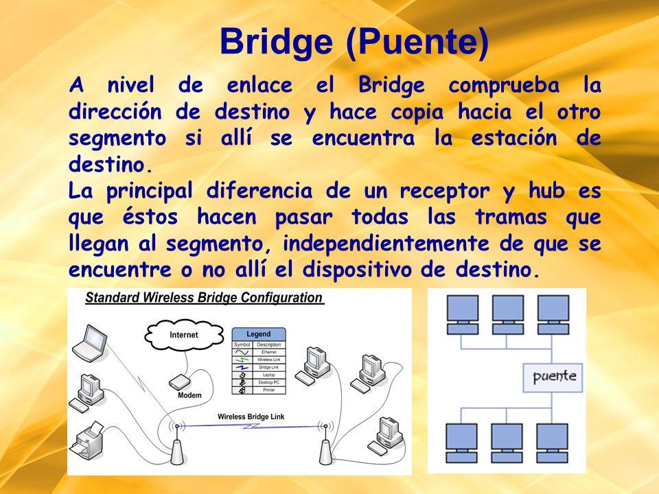 A nivel de enlace el Bridge comprueba la dirección de destino y hace copia hacia el otro segmento si allí se encuentra la estación de destino. La prin