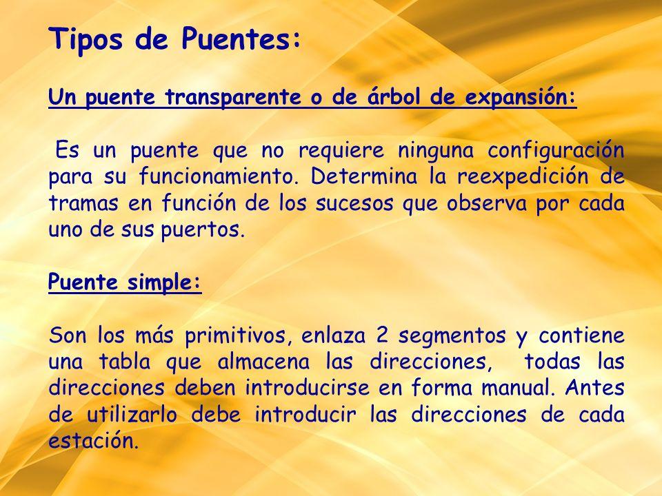 Tipos de Puentes: Un puente transparente o de árbol de expansión: Es un puente que no requiere ninguna configuración para su funcionamiento. Determina