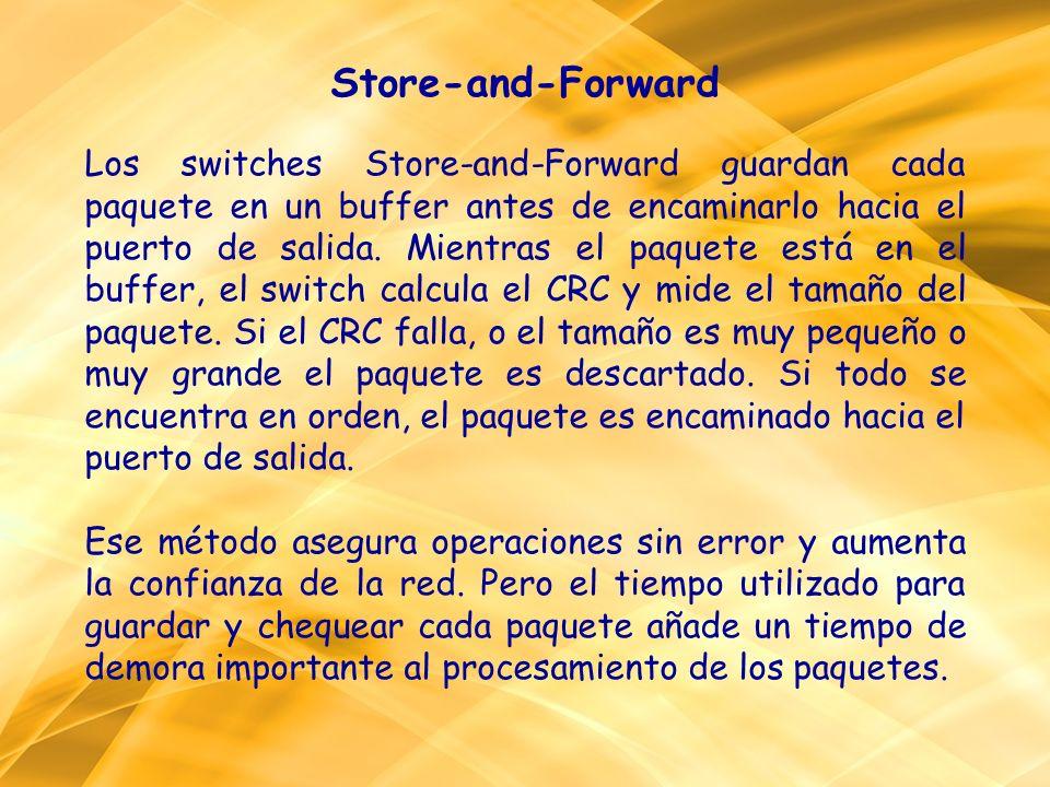 Store-and-Forward Los switches Store-and-Forward guardan cada paquete en un buffer antes de encaminarlo hacia el puerto de salida. Mientras el paquete