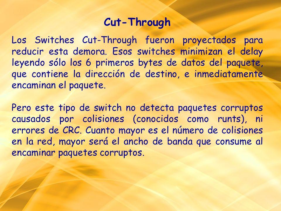 Cut-Through Los Switches Cut-Through fueron proyectados para reducir esta demora. Esos switches minimizan el delay leyendo sólo los 6 primeros bytes d
