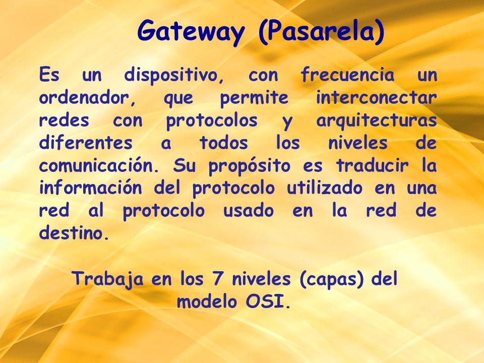 Gateway (Pasarela) Es un dispositivo, con frecuencia un ordenador, que permite interconectar redes con protocolos y arquitecturas diferentes a todos l