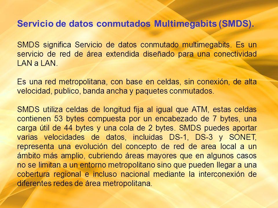 Servicio de datos conmutados Multimegabits (SMDS). SMDS significa Servicio de datos conmutado multimegabits. Es un servicio de red de área extendida d