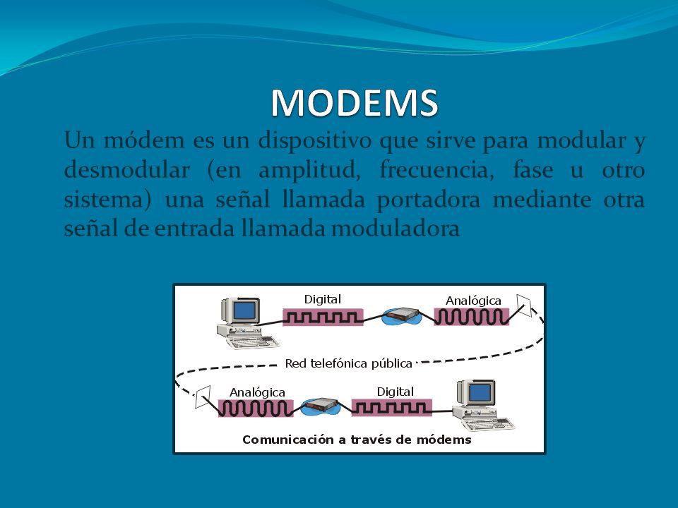 PRINCIPALES FUNCIONES DEL MODEM Modular y demodular la señal portadora de información.