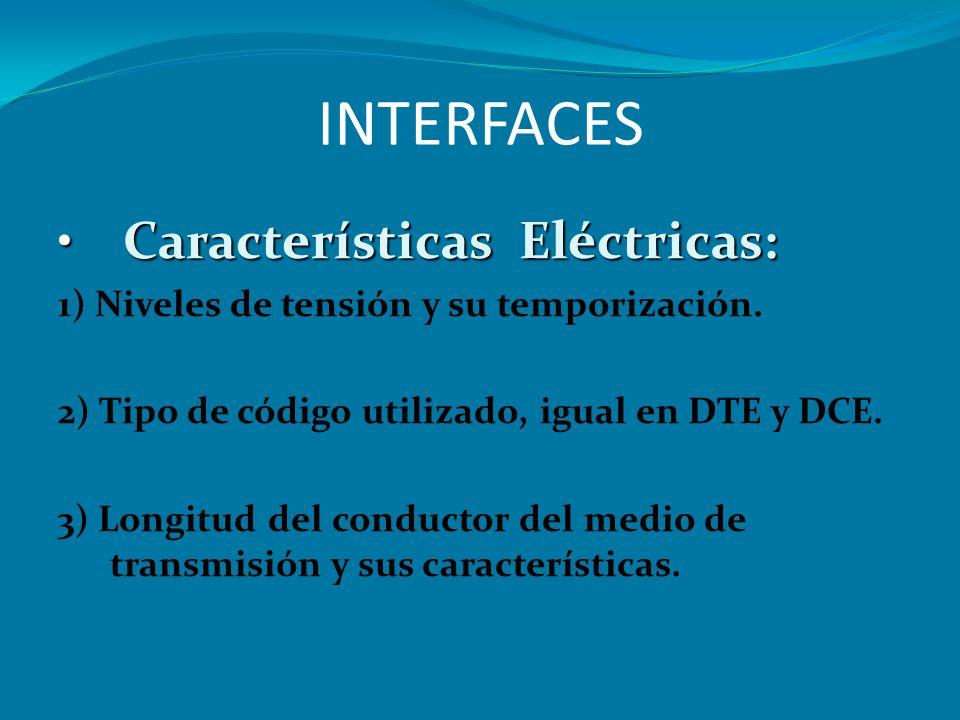 INTERFACES Características Eléctricas: Características Eléctricas: 1) Niveles de tensión y su temporización. 2) Tipo de código utilizado, igual en DTE