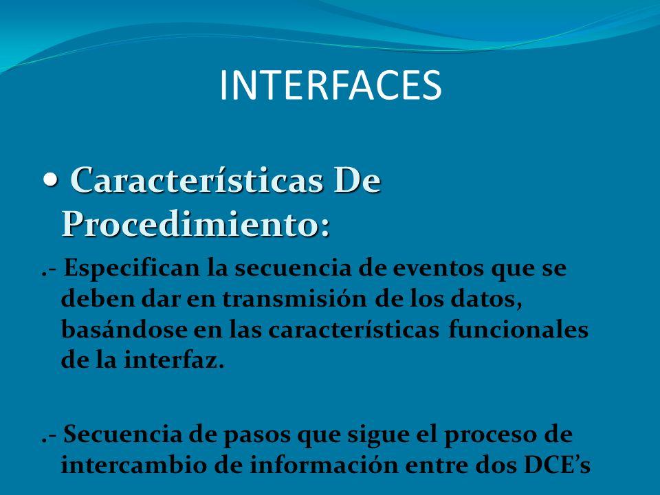 INTERFACES Características De Procedimiento: Características De Procedimiento:.- Especifican la secuencia de eventos que se deben dar en transmisión d