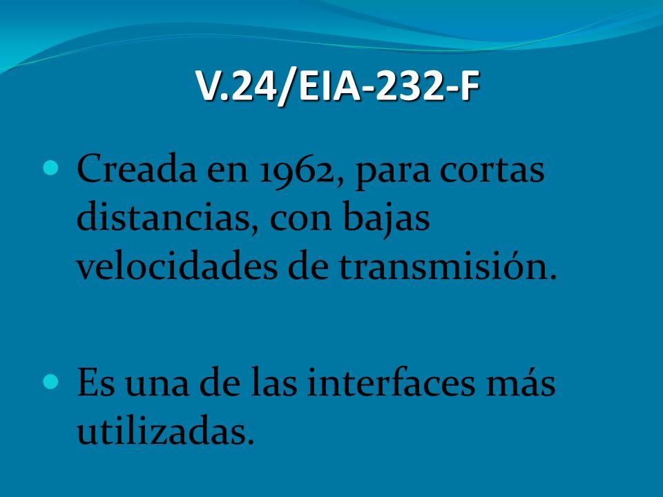 V.24/EIA-232-F Creada en 1962, para cortas distancias, con bajas velocidades de transmisión. Es una de las interfaces más utilizadas.