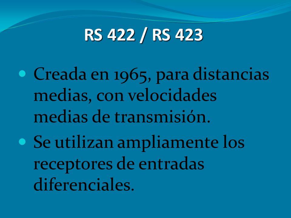 RS 422 / RS 423 Creada en 1965, para distancias medias, con velocidades medias de transmisión. Se utilizan ampliamente los receptores de entradas dife