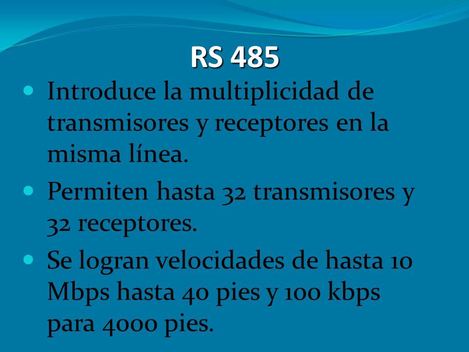 RS 485 Introduce la multiplicidad de transmisores y receptores en la misma línea. Permiten hasta 32 transmisores y 32 receptores. Se logran velocidade