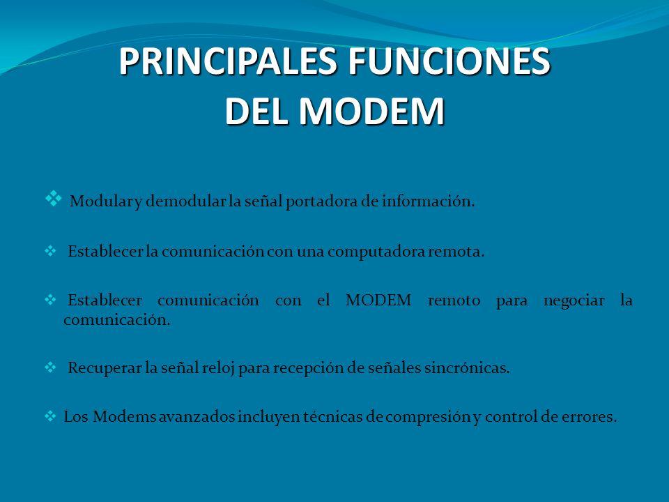 PRINCIPALES FUNCIONES DEL MODEM Modular y demodular la señal portadora de información. Establecer la comunicación con una computadora remota. Establec