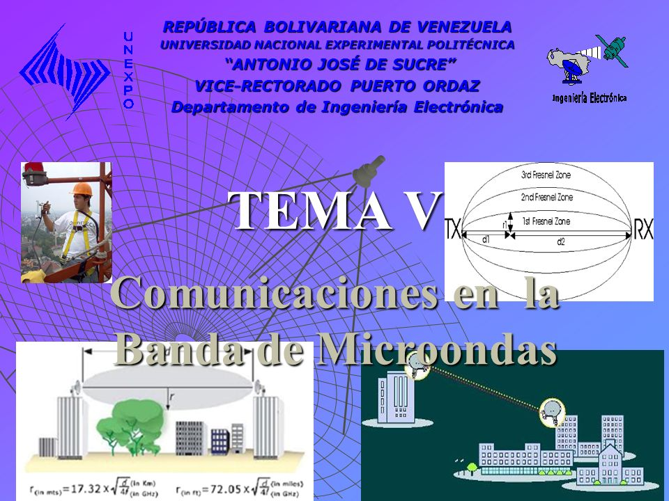Comunicaciones en la Banda de Microondas TEMA V REPÚBLICA BOLIVARIANA DE VENEZUELA UNIVERSIDAD NACIONAL EXPERIMENTAL POLITÉCNICA ANTONIO JOSÉ DE SUCRE