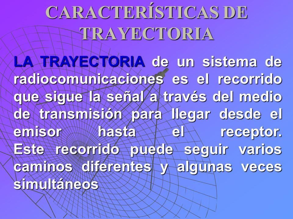 CARACTERÍSTICAS DE TRAYECTORIA LA TRAYECTORIA de un sistema de radiocomunicaciones es el recorrido que sigue la señal a través del medio de transmisió