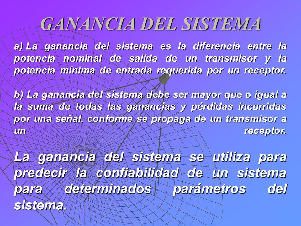 GANANCIA DEL SISTEMA a) La ganancia del sistema es la diferencia entre la potencia nominal de salida de un transmisor y la potencia mínima de entrada