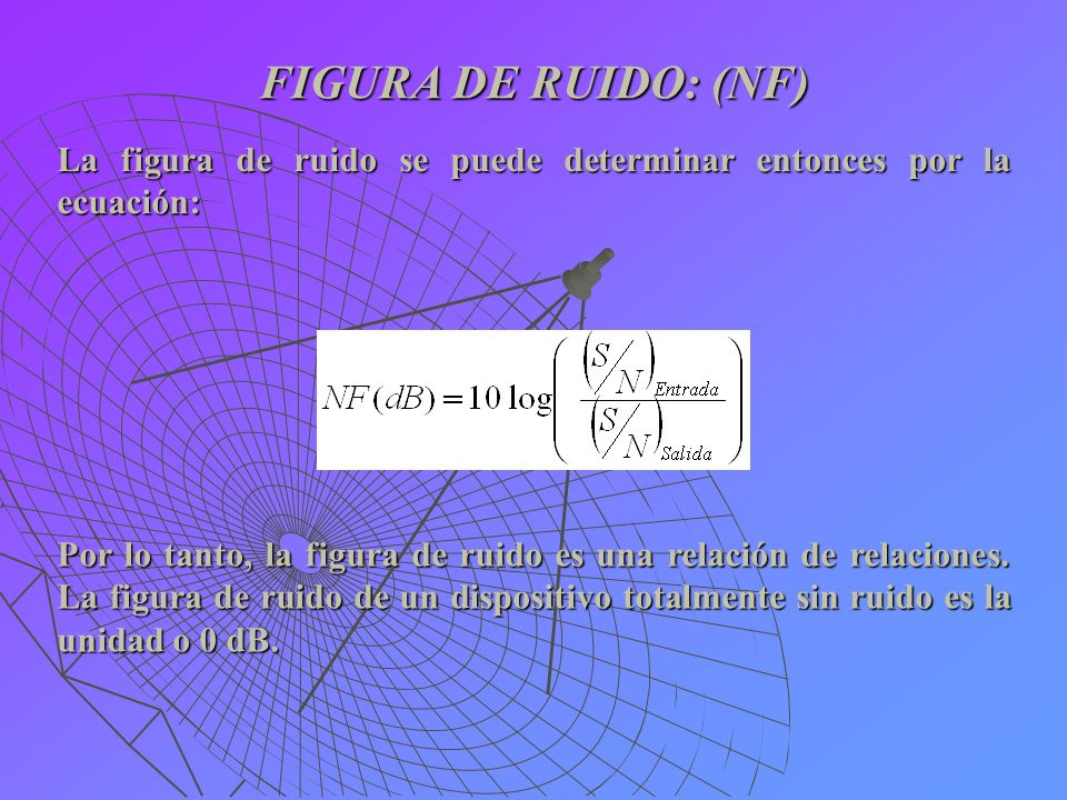 FIGURA DE RUIDO: (NF) Por lo tanto, la figura de ruido es una relación de relaciones. La figura de ruido de un dispositivo totalmente sin ruido es la