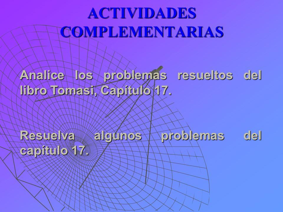 ACTIVIDADES COMPLEMENTARIAS Analice los problemas resueltos del libro Tomasi, Capítulo 17. Resuelva algunos problemas del capítulo 17.