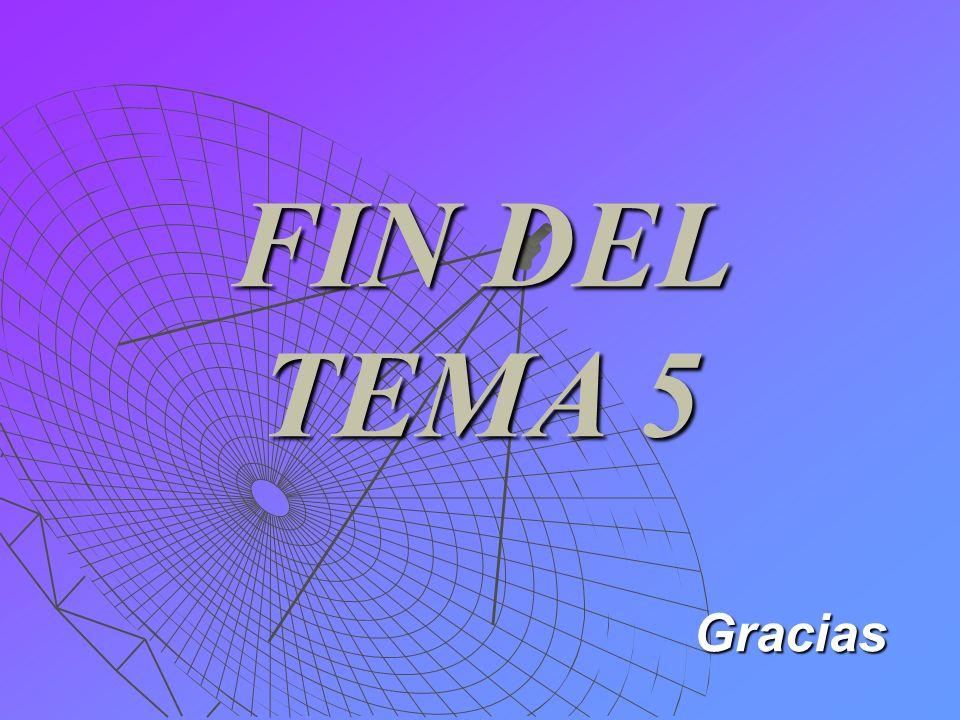 FIN DEL TEMA 5 Gracias