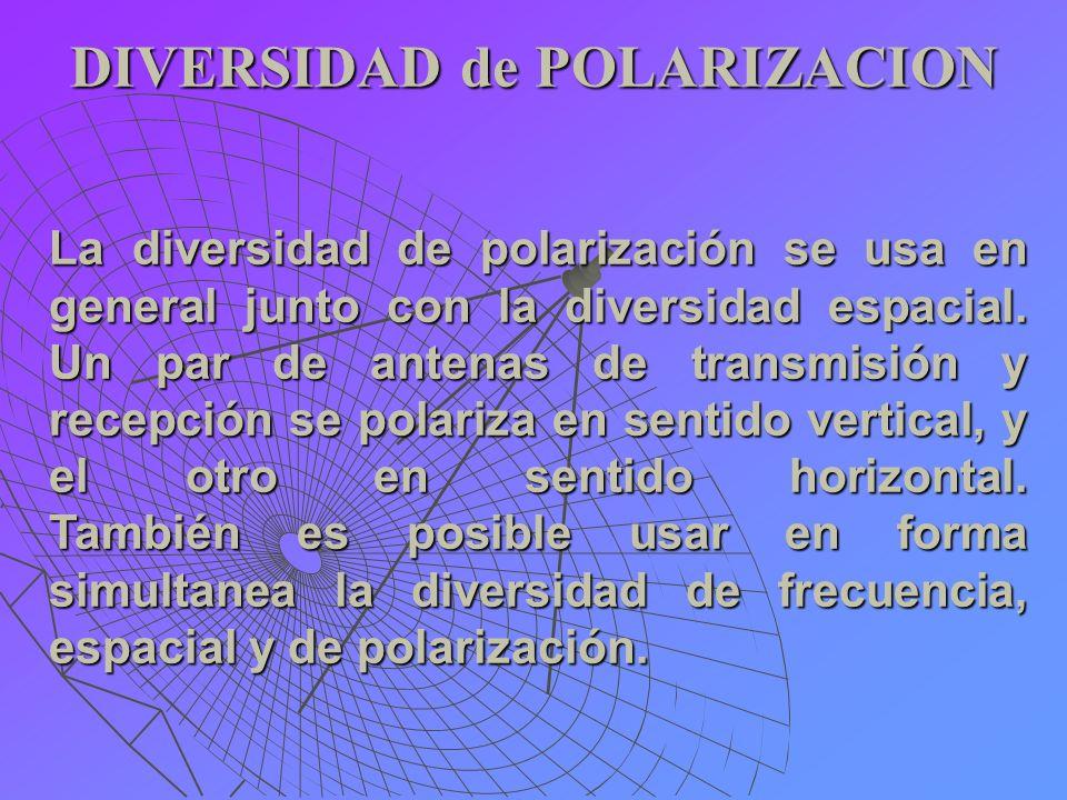DIVERSIDAD de POLARIZACION La diversidad de polarización se usa en general junto con la diversidad espacial. Un par de antenas de transmisión y recepc
