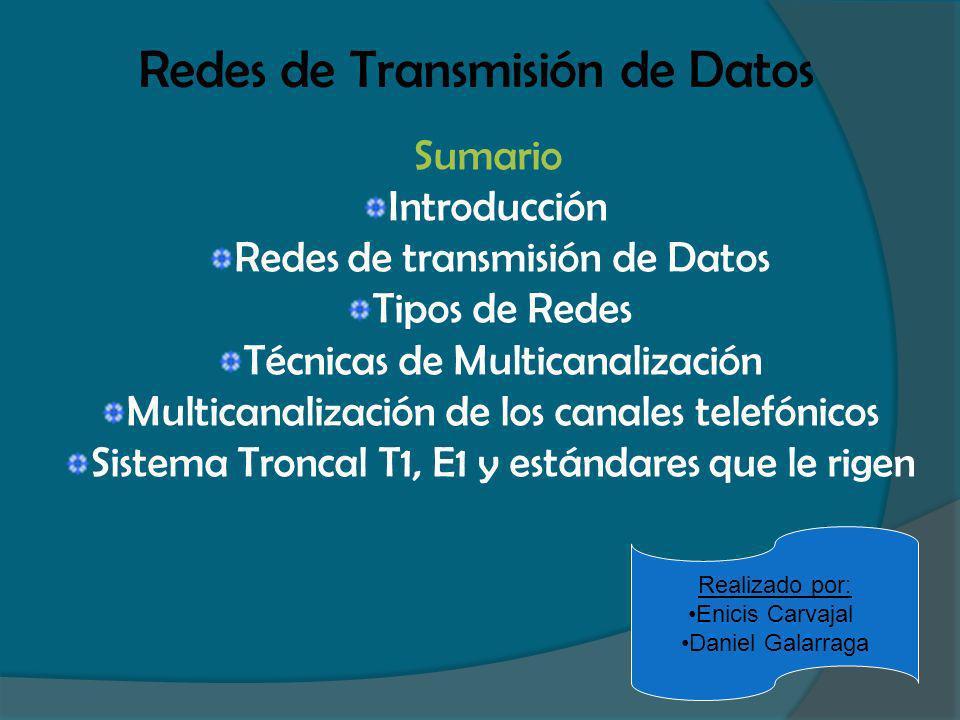 Redes de Transmisión de Datos Sumario Introducción Redes de transmisión de Datos Tipos de Redes Técnicas de Multicanalización Multicanalización de los