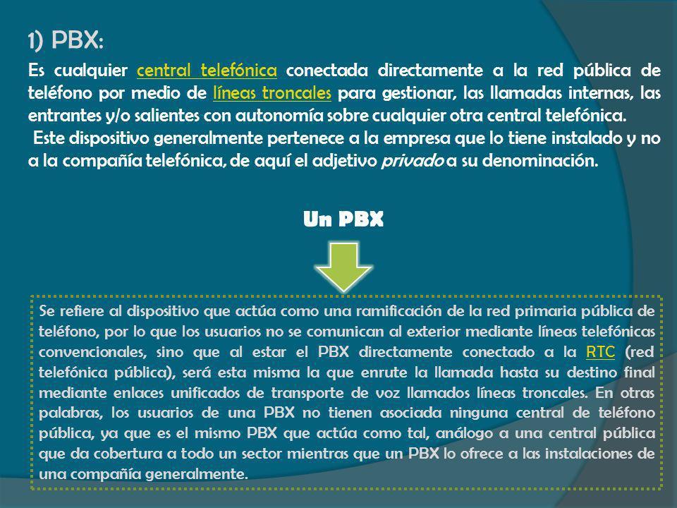 1) PBX: Es cualquier central telefónica conectada directamente a la red pública de teléfono por medio de líneas troncales para gestionar, las llamadas