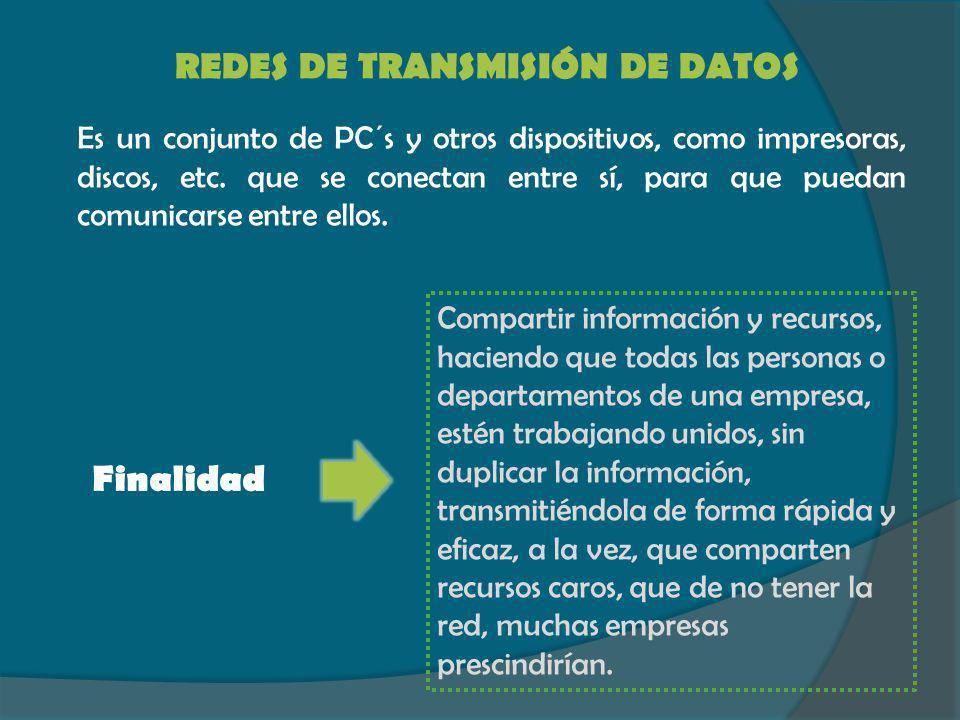 REDES DE TRANSMISIÓN DE DATOS Es un conjunto de PC´s y otros dispositivos, como impresoras, discos, etc. que se conectan entre sí, para que puedan com
