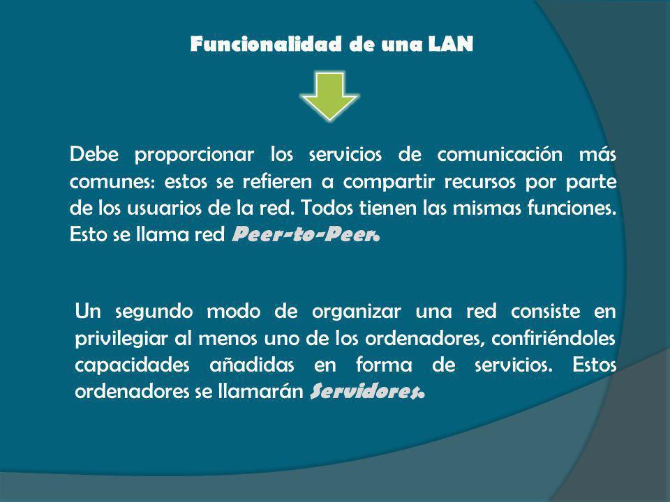 Funcionalidad de una LAN Debe proporcionar los servicios de comunicación más comunes: estos se refieren a compartir recursos por parte de los usuarios