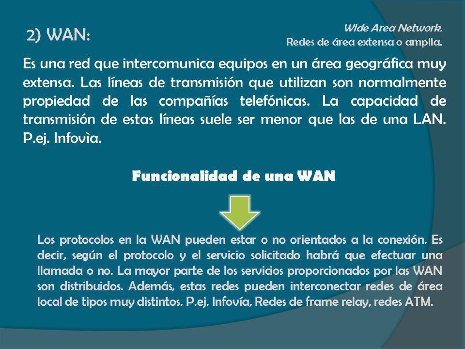 2) WAN: Wide Area Network. Redes de área extensa o amplia. Es una red que intercomunica equipos en un área geográfica muy extensa. Las líneas de trans