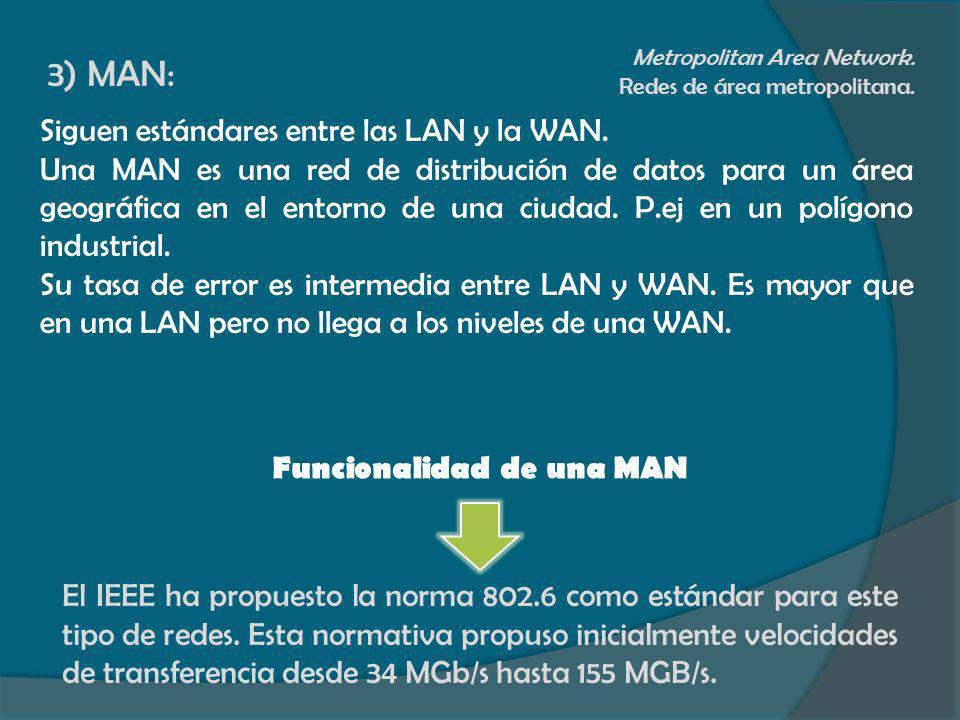 3) MAN: Metropolitan Area Network. Redes de área metropolitana. Siguen estándares entre las LAN y la WAN. Una MAN es una red de distribución de datos