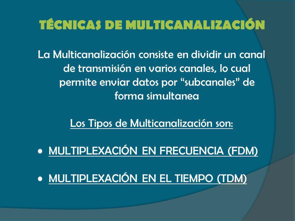 TÉCNICAS DE MULTICANALIZACIÓN La Multicanalización consiste en dividir un canal de transmisión en varios canales, lo cual permite enviar datos por sub