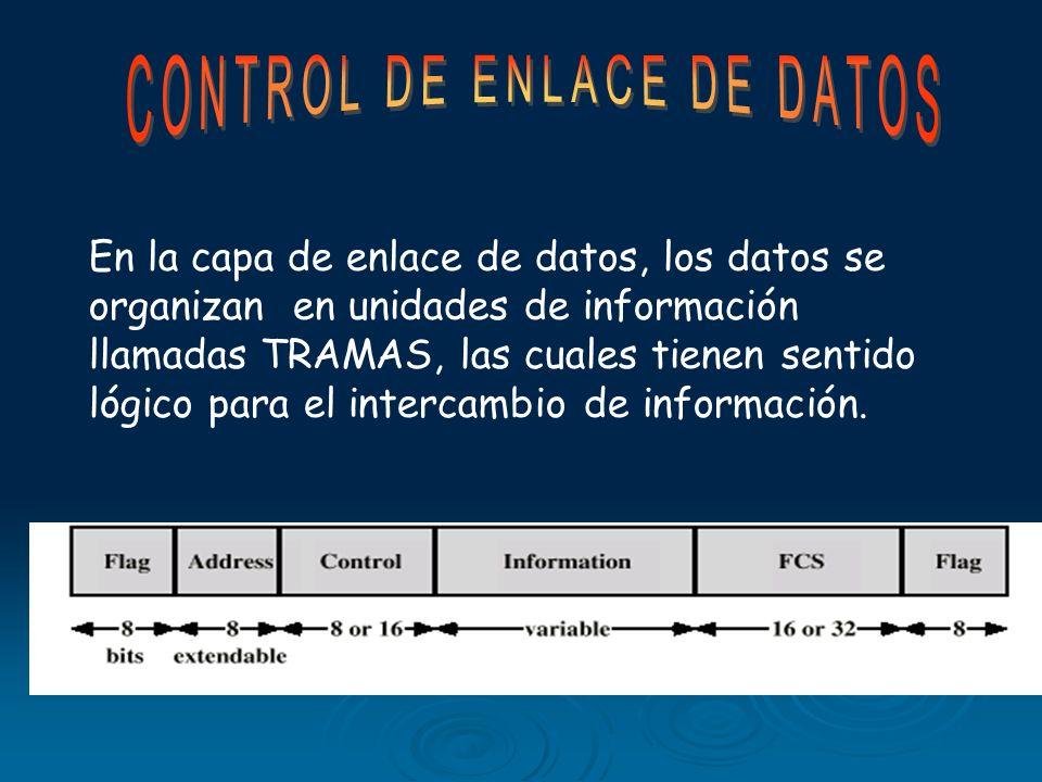 En la capa de enlace de datos, los datos se organizan en unidades de información llamadas TRAMAS, las cuales tienen sentido lógico para el intercambio de información.
