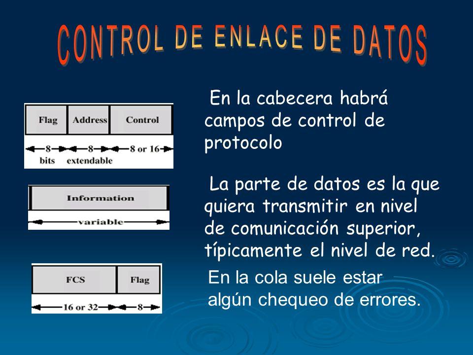 En la cabecera habrá campos de control de protocolo La parte de datos es la que quiera transmitir en nivel de comunicación superior, típicamente el nivel de red.