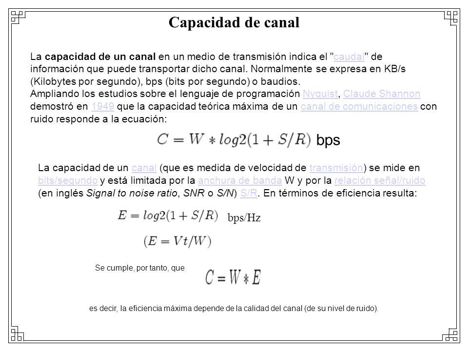 Capacidad de canal La capacidad de un canal en un medio de transmisión indica el