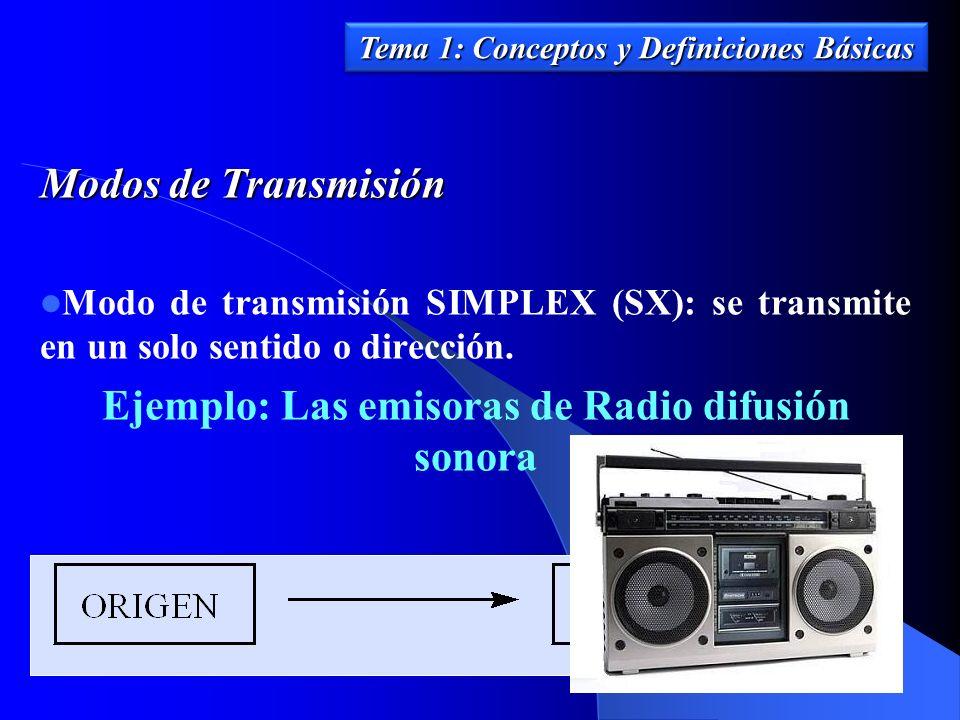 Modos de Transmisión Modo de transmisión SIMPLEX (SX): se transmite en un solo sentido o dirección. Ejemplo: Las emisoras de Radio difusión sonora Tem