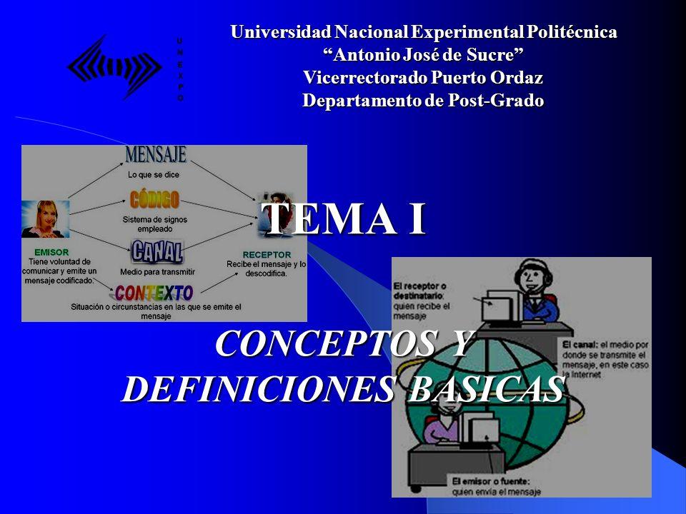 TEMA I CONCEPTOS Y DEFINICIONES BASICAS Universidad Nacional Experimental Politécnica Antonio José de Sucre Vicerrectorado Puerto Ordaz Departamento d