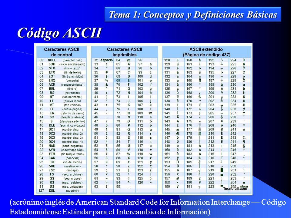 Tema 1: Conceptos y Definiciones Básicas Código ASCII (acrónimo inglés de American Standard Code for Information Interchange Código Estadounidense Est
