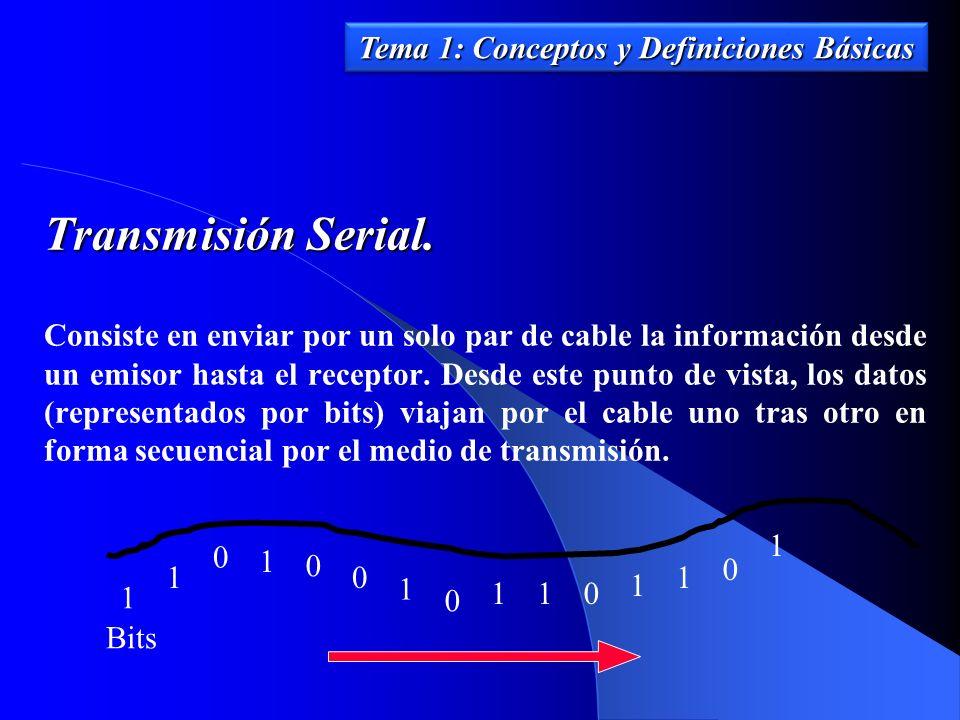 Transmisión Serial. Consiste en enviar por un solo par de cable la información desde un emisor hasta el receptor. Desde este punto de vista, los datos