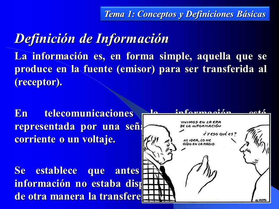 Definición de Información La información es, en forma simple, aquella que se produce en la fuente (emisor) para ser transferida al (receptor). En tele