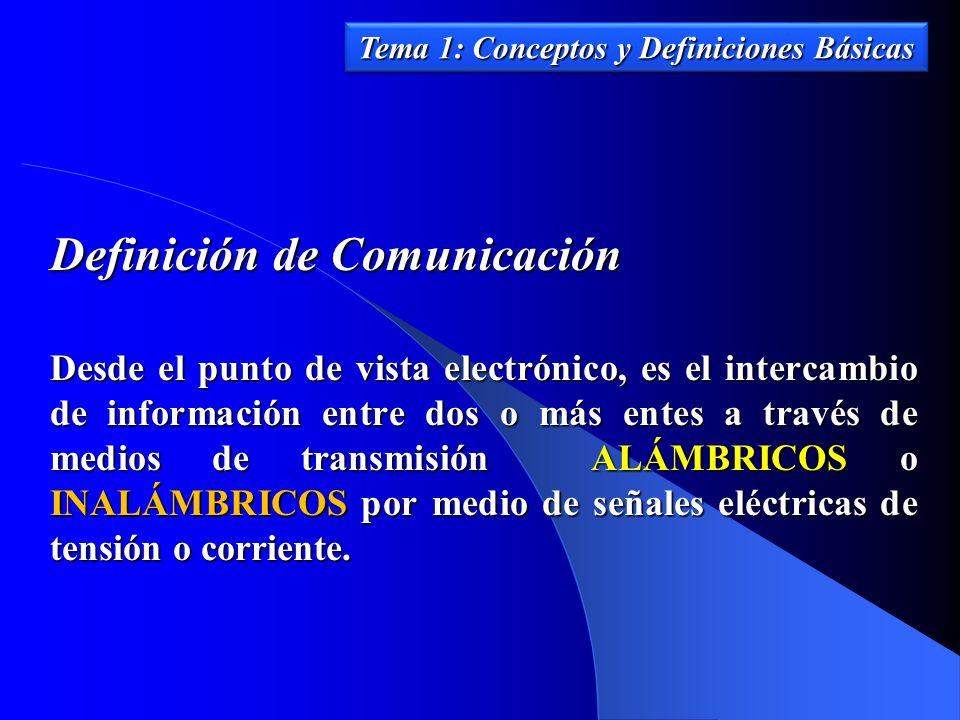 Definición de Comunicación Desde el punto de vista electrónico, es el intercambio de información entre dos o más entes a través de medios de transmisi