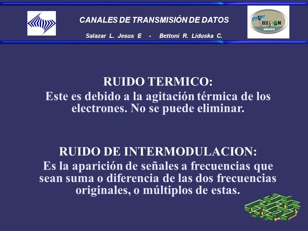 CANALES DE TRANSMISIÓN DE DATOS Salazar L. Jesus E - Bettoni R. Liduska C. RUIDO TERMICO: Este es debido a la agitación térmica de los electrones. No