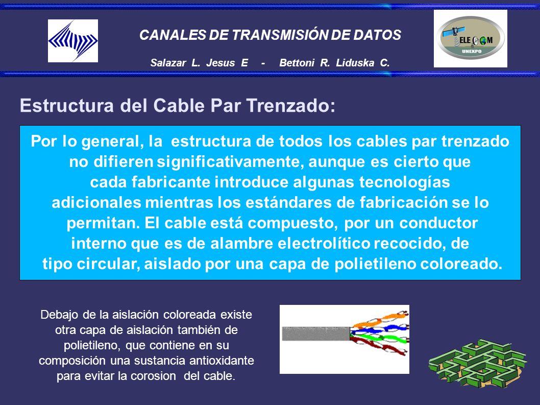 CANALES DE TRANSMISIÓN DE DATOS Salazar L. Jesus E - Bettoni R. Liduska C. Estructura del Cable Par Trenzado: Por lo general, la estructura de todos l