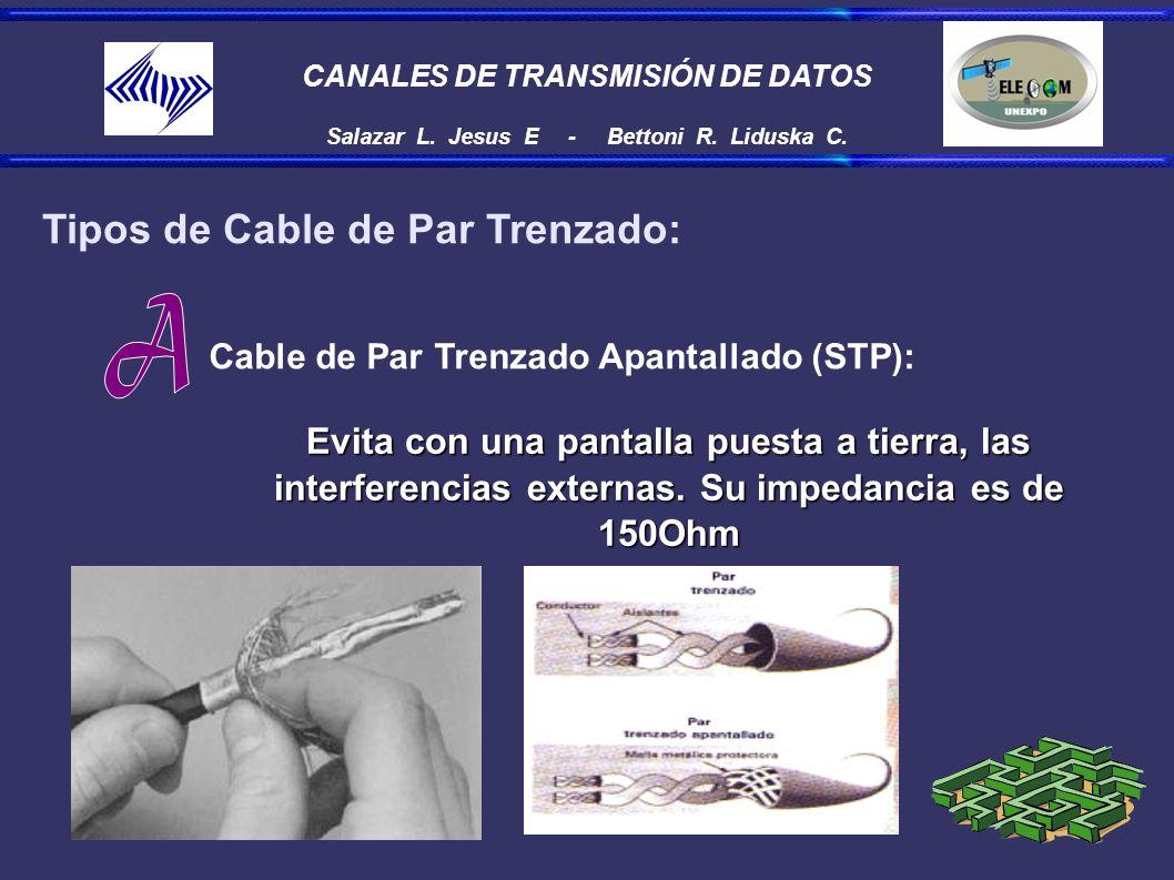 CANALES DE TRANSMISIÓN DE DATOS Salazar L. Jesus E - Bettoni R. Liduska C. Tipos de Cable de Par Trenzado: Cable de Par Trenzado Apantallado (STP): Ev