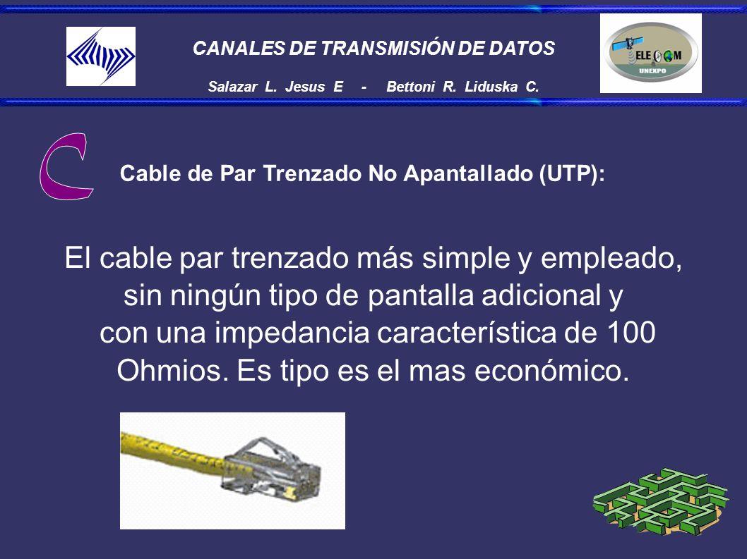 CANALES DE TRANSMISIÓN DE DATOS Salazar L. Jesus E - Bettoni R. Liduska C. Cable de Par Trenzado No Apantallado (UTP): El cable par trenzado más simpl