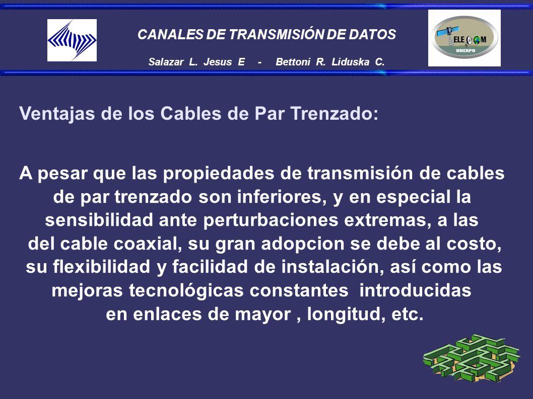 CANALES DE TRANSMISIÓN DE DATOS Salazar L. Jesus E - Bettoni R. Liduska C. Ventajas de los Cables de Par Trenzado: A pesar que las propiedades de tran