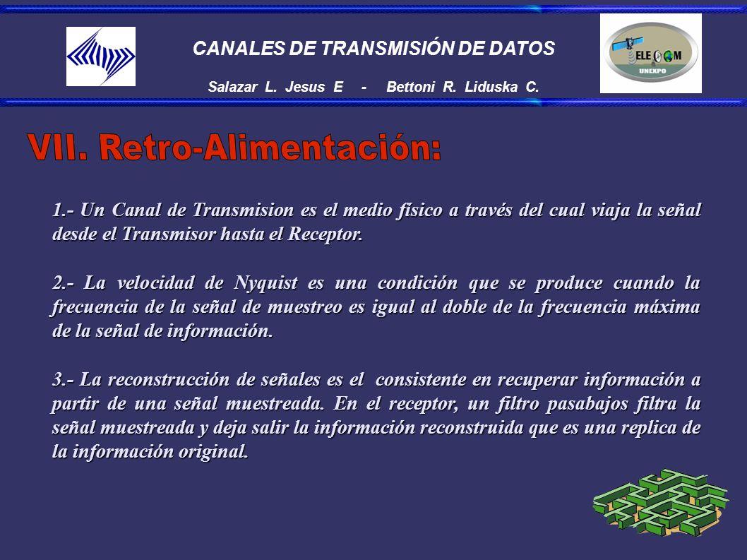 CANALES DE TRANSMISIÓN DE DATOS Salazar L. Jesus E - Bettoni R. Liduska C. 1.- Un Canal de Transmision es el medio físico a través del cual viaja la s