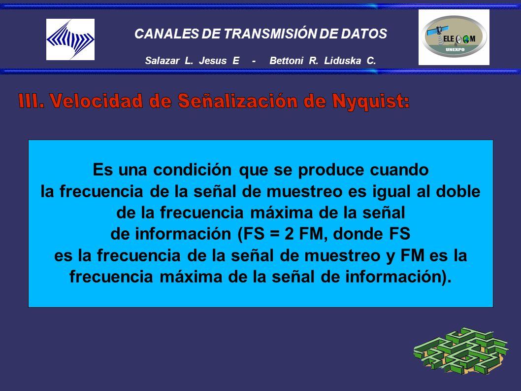 CANALES DE TRANSMISIÓN DE DATOS Salazar L. Jesus E - Bettoni R. Liduska C. Es una condición que se produce cuando la frecuencia de la señal de muestre