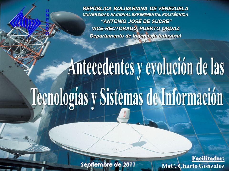 Septiembre de 2011 Facilitador: MsC. Charlo GonzálezFacilitador: REPÚBLICA BOLIVARIANA DE VENEZUELA UNIVERSIDAD NACIONAL EXPERIMENTAL POLITÉCNICA ANTO