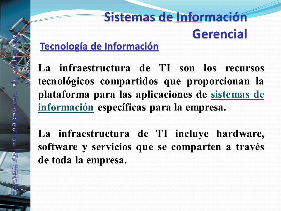 Tecnología de Información La infraestructura de TI son los recursos tecnológicos compartidos que proporcionan la plataforma para las aplicaciones de s