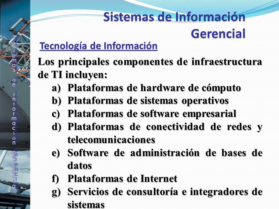 Tecnología de Información Los principales componentes de infraestructura de TI incluyen: a)Plataformas de hardware de cómputo b)Plataformas de sistema